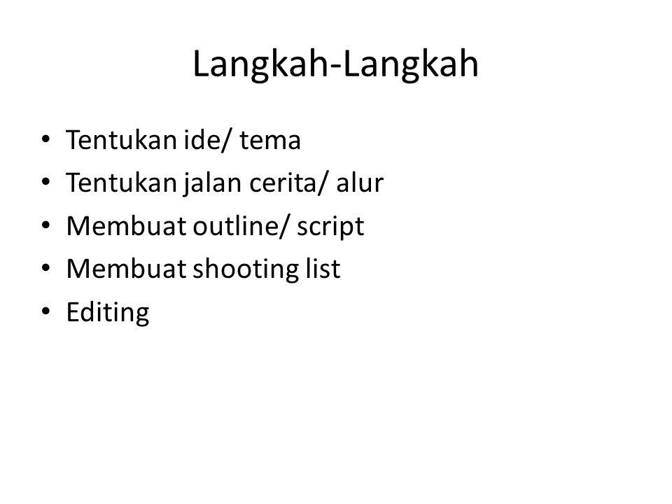 Langkah-Langkah Tentukan ide/ tema Tentukan jalan cerita/ alur