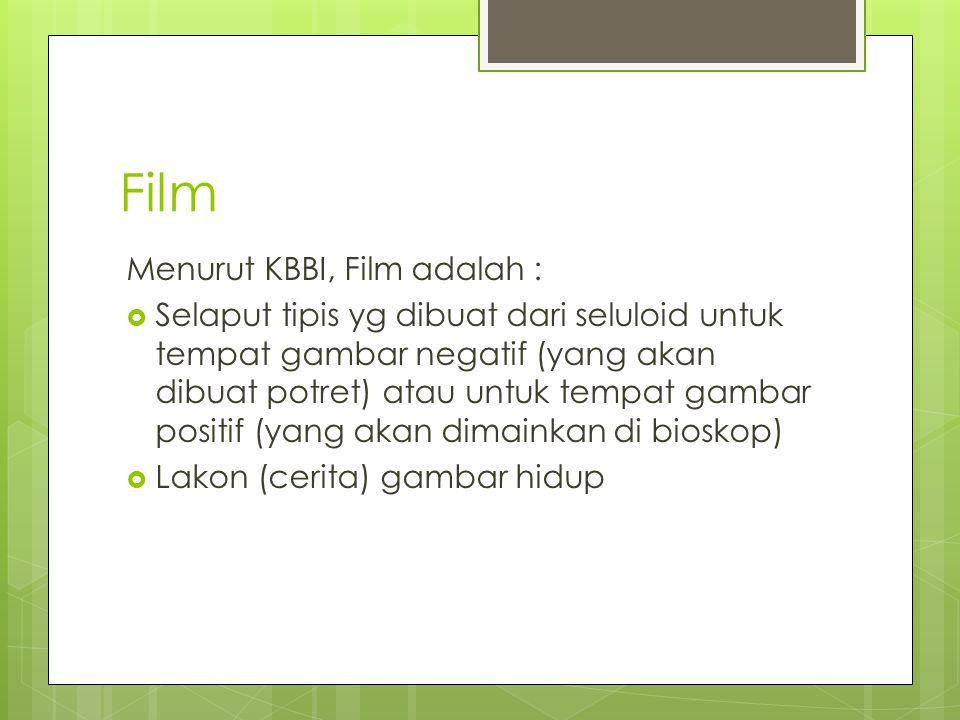 Film Menurut KBBI, Film adalah :