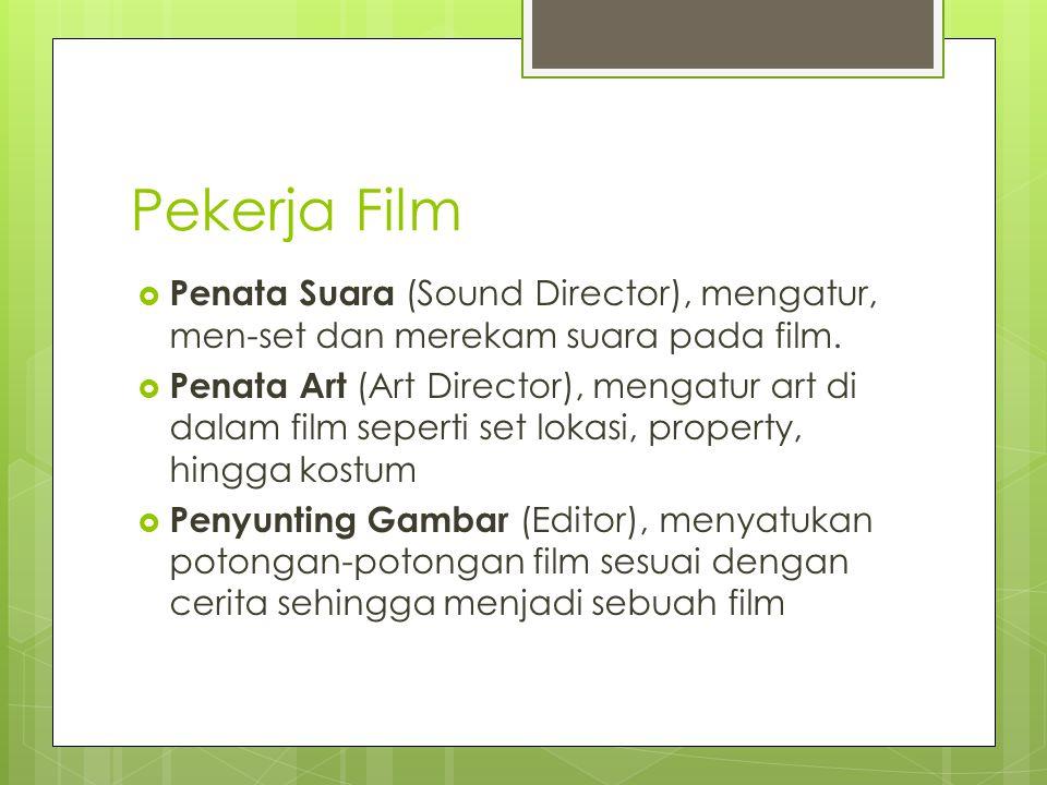 Pekerja Film Penata Suara (Sound Director), mengatur, men-set dan merekam suara pada film.