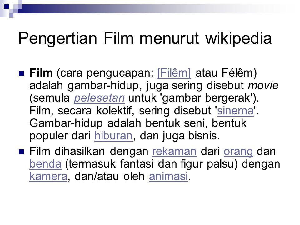 Pengertian Film menurut wikipedia