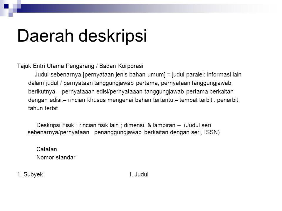 Daerah deskripsi Tajuk Entri Utama Pengarang / Badan Korporasi