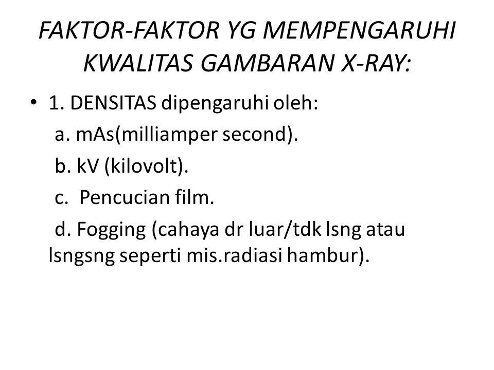 FAKTOR-FAKTOR YG MEMPENGARUHI KWALITAS GAMBARAN X-RAY: