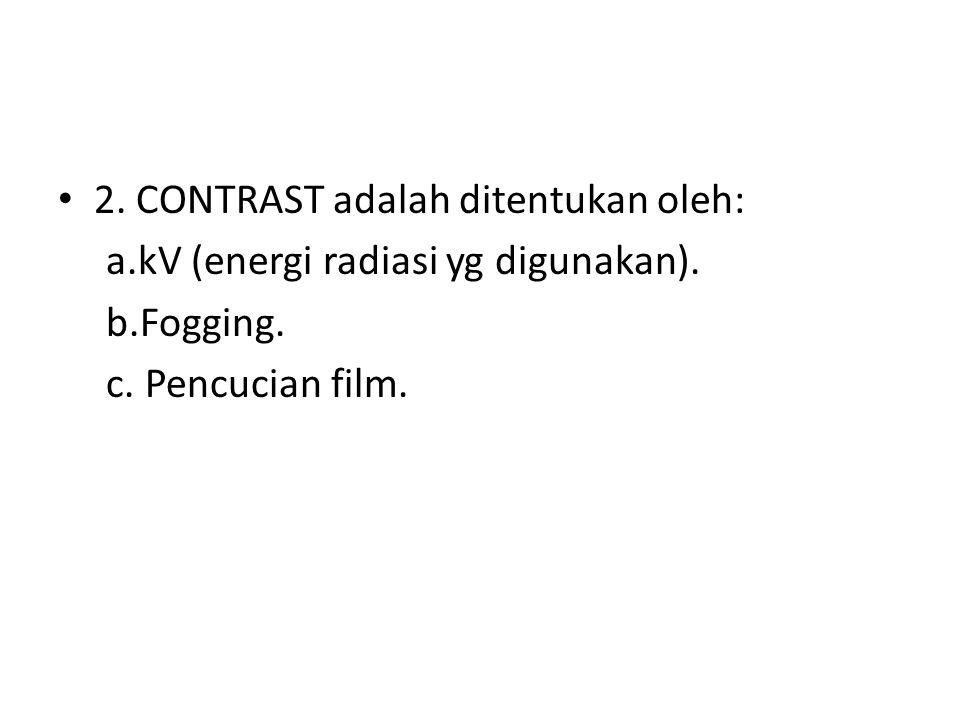 2. CONTRAST adalah ditentukan oleh:
