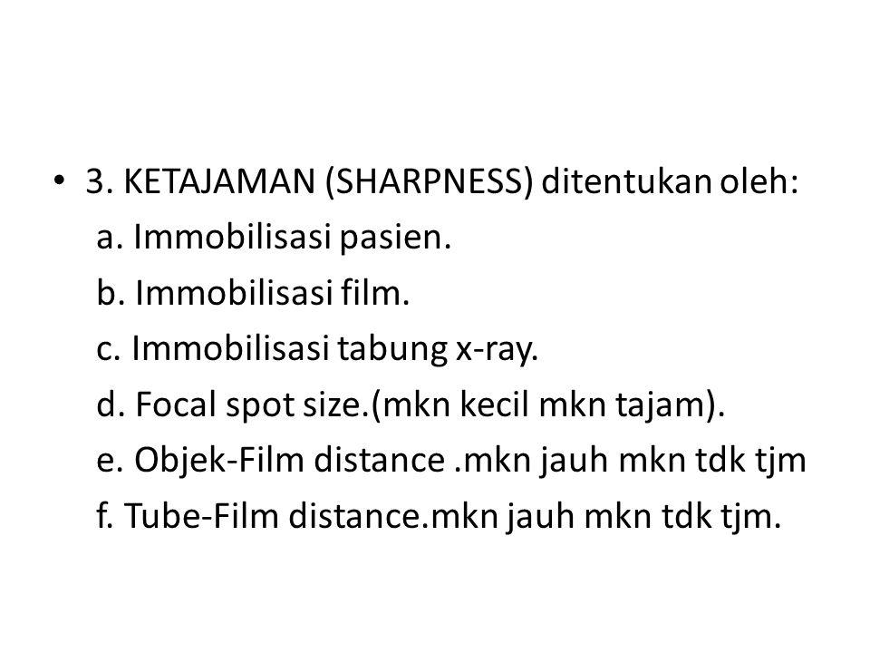 3. KETAJAMAN (SHARPNESS) ditentukan oleh: