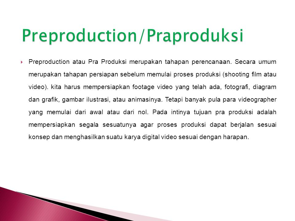 Preproduction/Praproduksi
