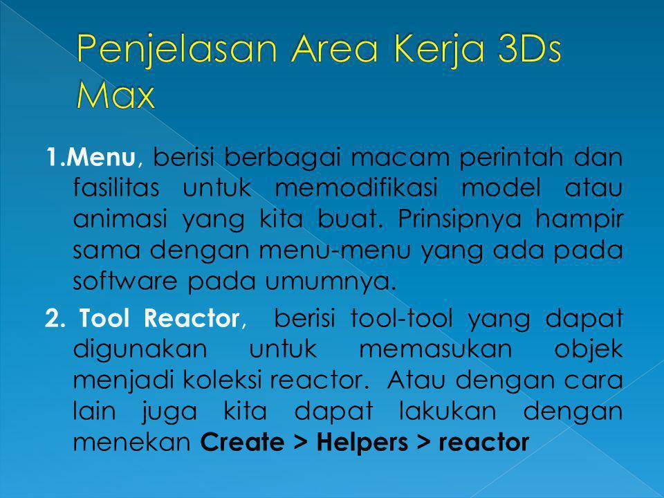Penjelasan Area Kerja 3Ds Max