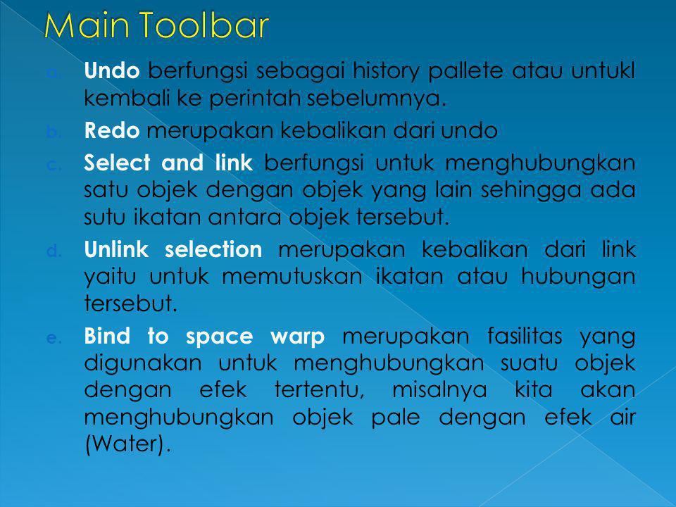 Main Toolbar Undo berfungsi sebagai history pallete atau untukl kembali ke perintah sebelumnya. Redo merupakan kebalikan dari undo.