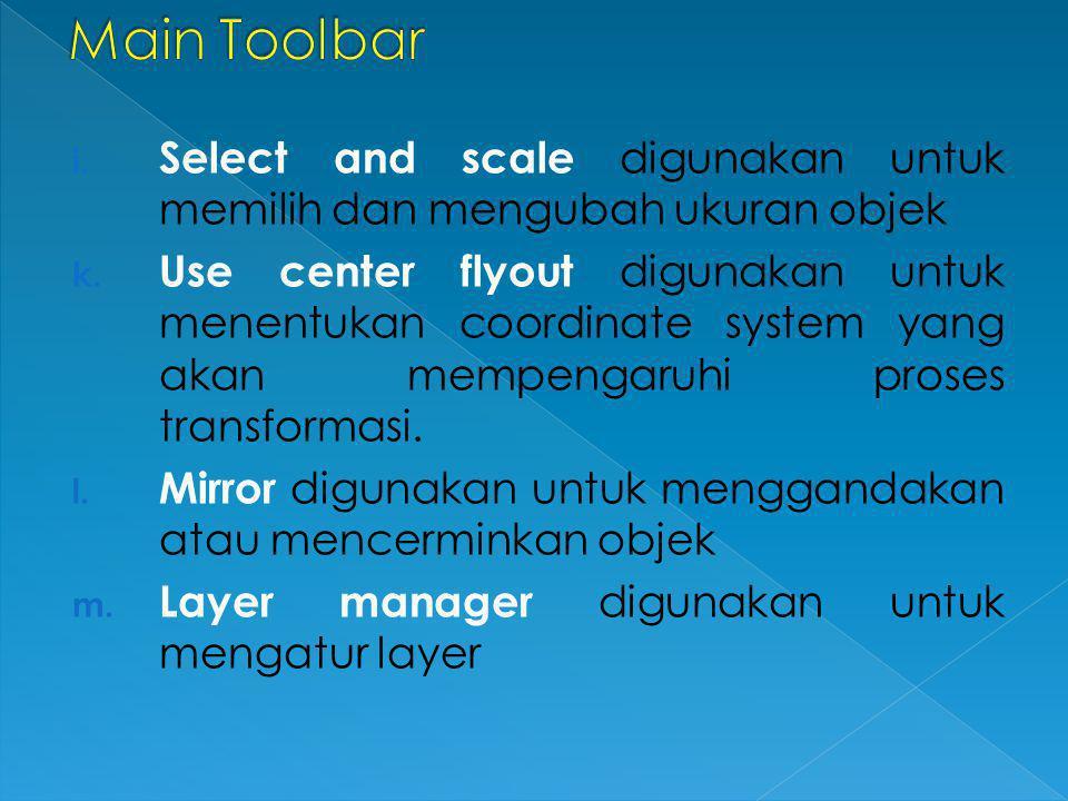 Main Toolbar Select and scale digunakan untuk memilih dan mengubah ukuran objek.