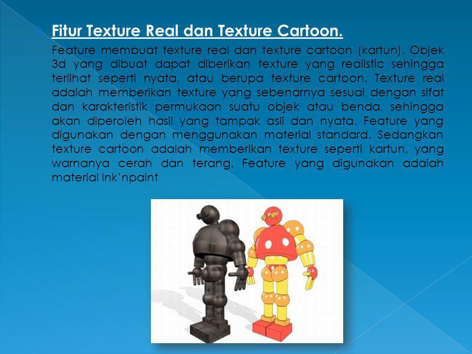 Fitur Texture Real dan Texture Cartoon.