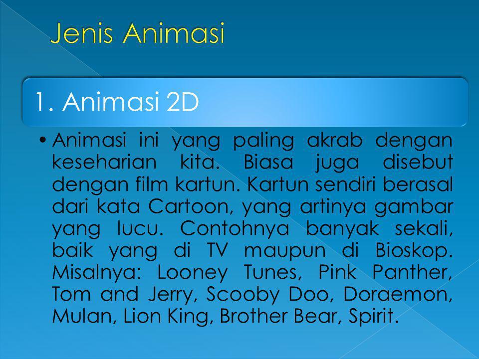 Jenis Animasi 1. Animasi 2D.