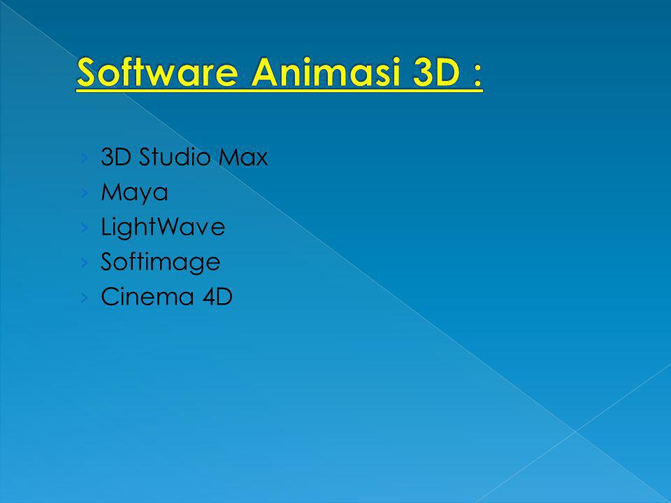 Software Animasi 3D : 3D Studio Max Maya LightWave Softimage Cinema 4D