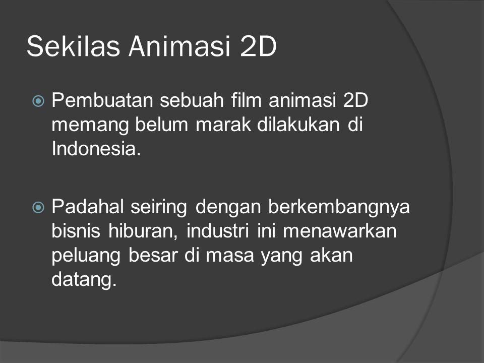 Sekilas Animasi 2D Pembuatan sebuah film animasi 2D memang belum marak dilakukan di Indonesia.
