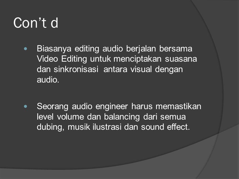 Con't d Biasanya editing audio berjalan bersama Video Editing untuk menciptakan suasana dan sinkronisasi antara visual dengan audio.