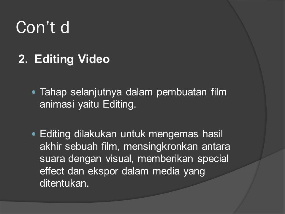 Con't d 2. Editing Video. Tahap selanjutnya dalam pembuatan film animasi yaitu Editing.
