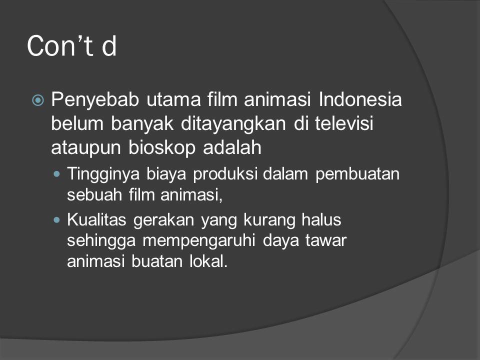 Con't d Penyebab utama film animasi Indonesia belum banyak ditayangkan di televisi ataupun bioskop adalah.