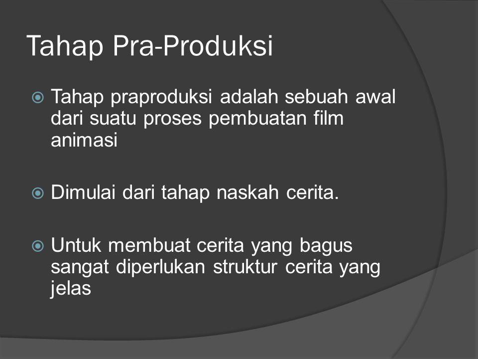 Tahap Pra-Produksi Tahap praproduksi adalah sebuah awal dari suatu proses pembuatan film animasi. Dimulai dari tahap naskah cerita.