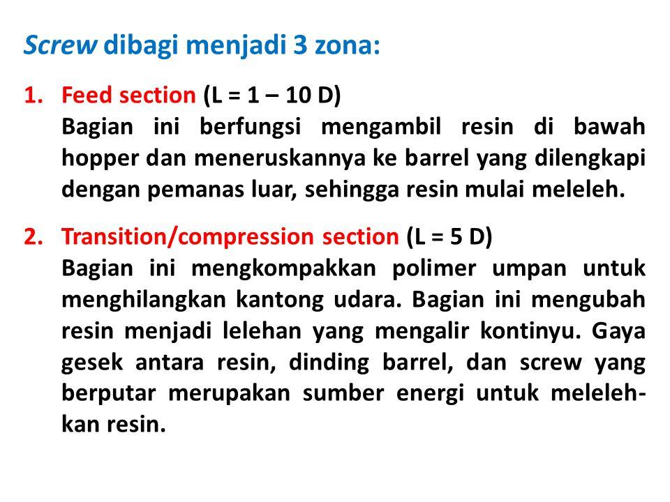 Screw dibagi menjadi 3 zona: