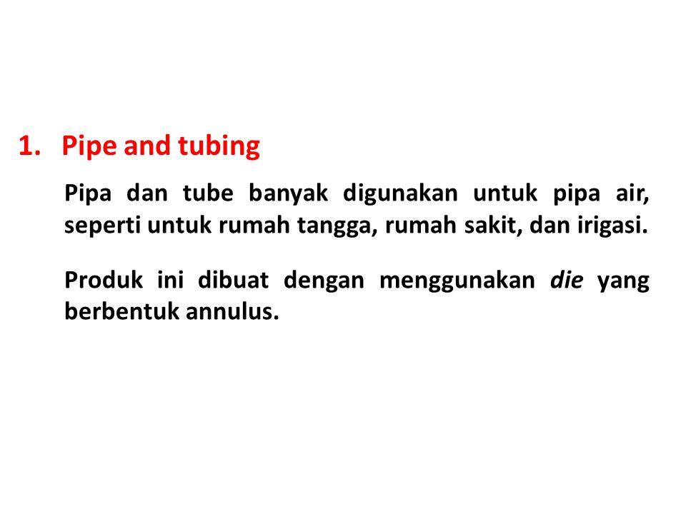 1. Pipe and tubing Pipa dan tube banyak digunakan untuk pipa air, seperti untuk rumah tangga, rumah sakit, dan irigasi.