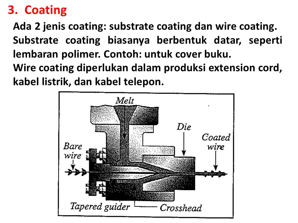 Coating Ada 2 jenis coating: substrate coating dan wire coating.