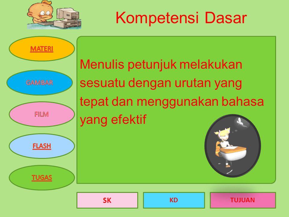 Kompetensi Dasar Menulis petunjuk melakukan sesuatu dengan urutan yang tepat dan menggunakan bahasa yang efektif