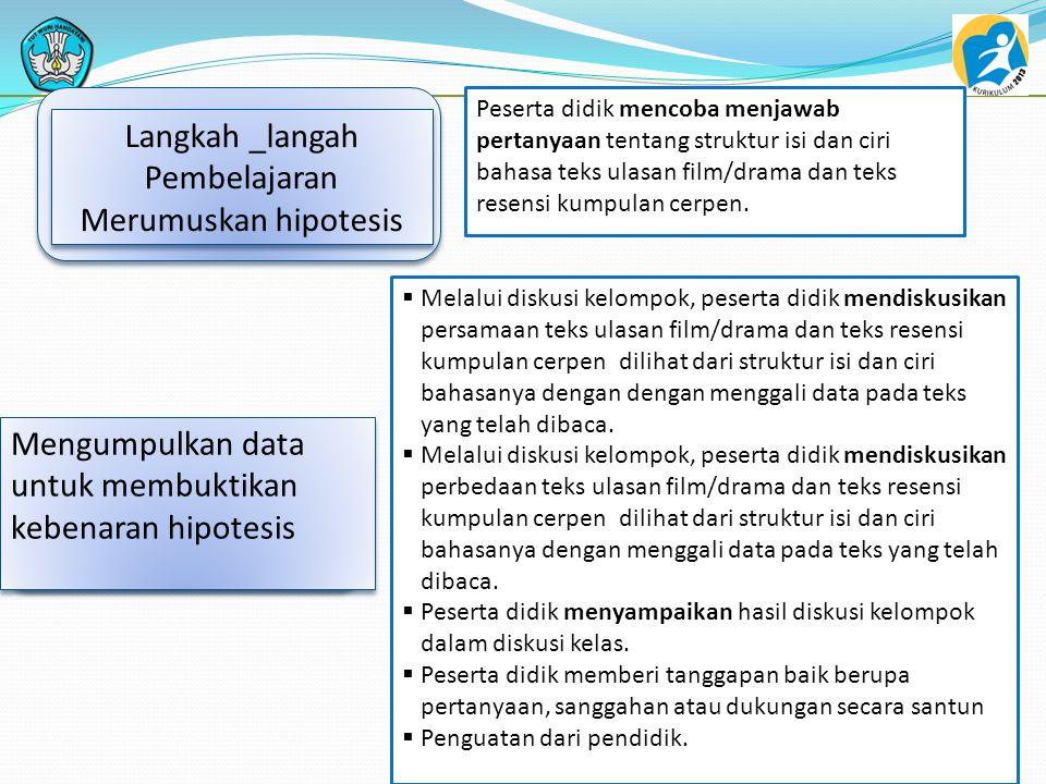 Langkah _langah Pembelajaran Merumuskan hipotesis