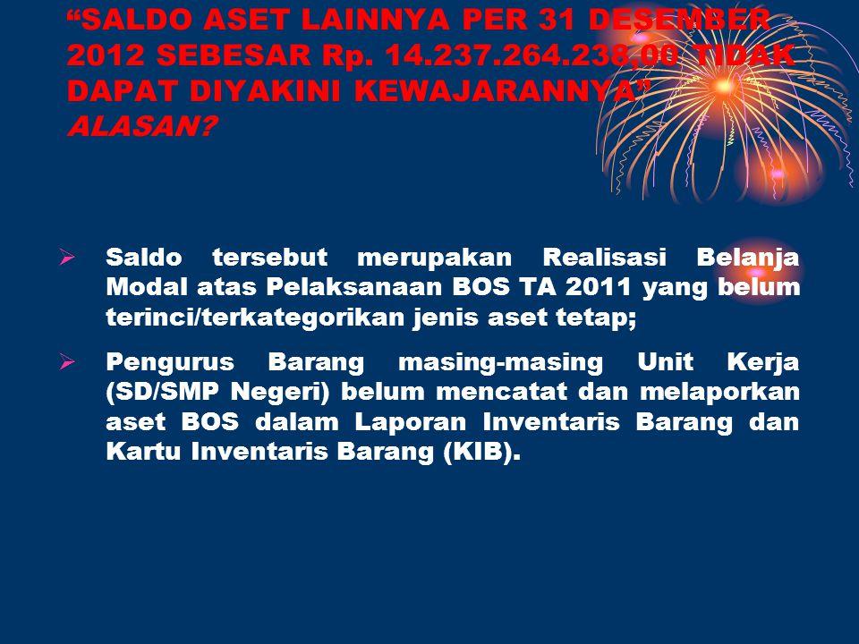 SALDO ASET LAINNYA PER 31 DESEMBER 2012 SEBESAR Rp. 14. 237. 264