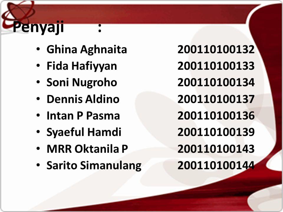 Penyaji : Ghina Aghnaita 200110100132 Fida Hafiyyan 200110100133