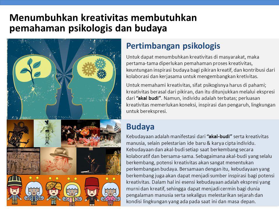 Menumbuhkan kreativitas membutuhkan pemahaman psikologis dan budaya