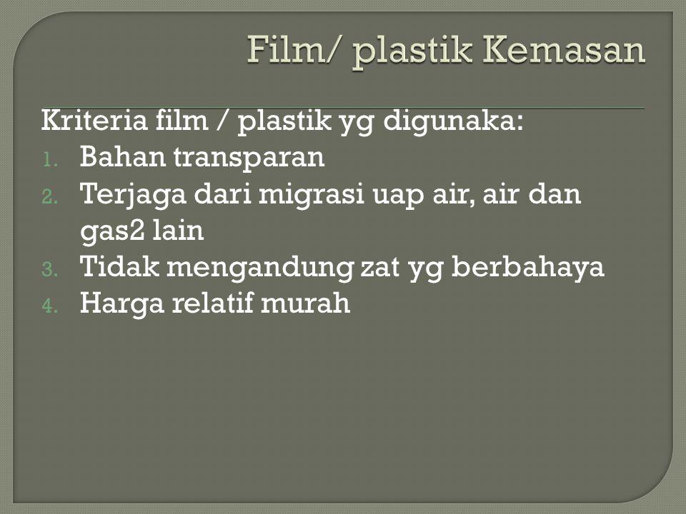 Film/ plastik Kemasan Kriteria film / plastik yg digunaka:
