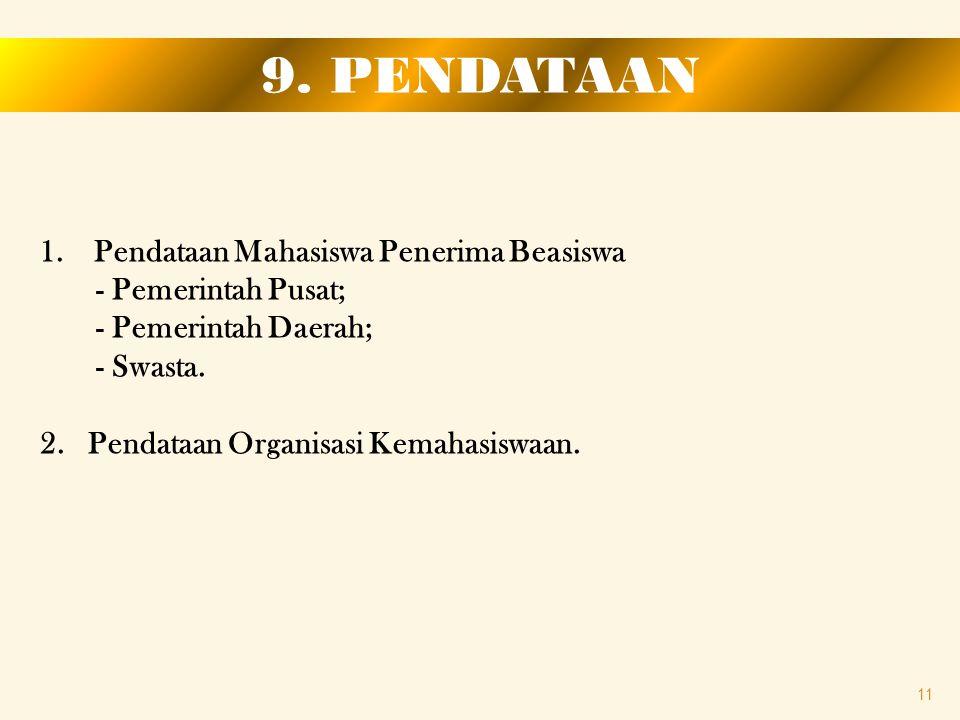 9. PENDATAAN Pendataan Mahasiswa Penerima Beasiswa - Pemerintah Pusat;