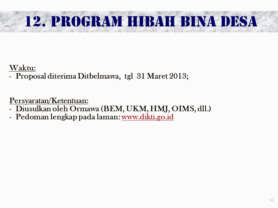 12. PROGRAM HIBAH BINA DESA
