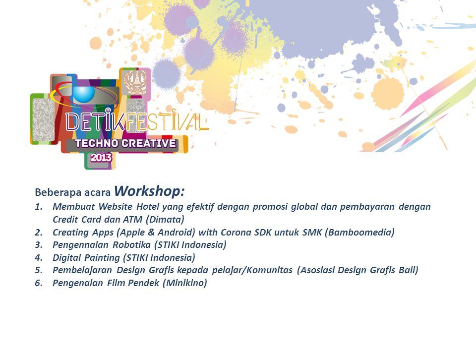 Beberapa acara Workshop: