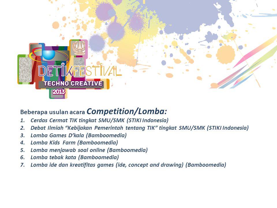 Beberapa usulan acara Competition/Lomba: