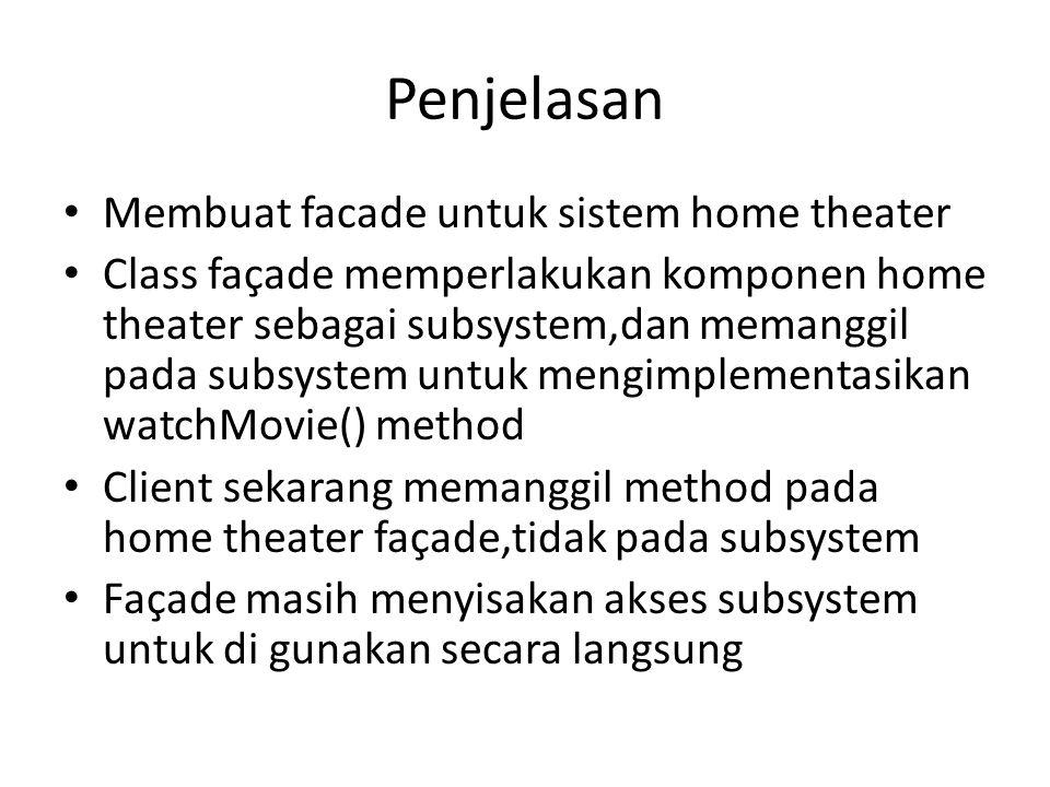 Penjelasan Membuat facade untuk sistem home theater