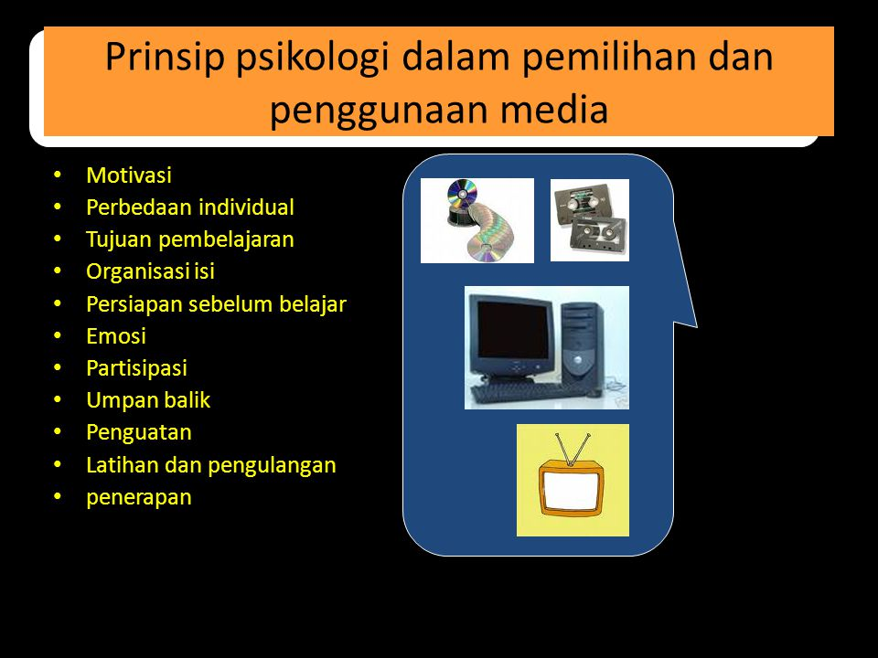 Prinsip psikologi dalam pemilihan dan penggunaan media