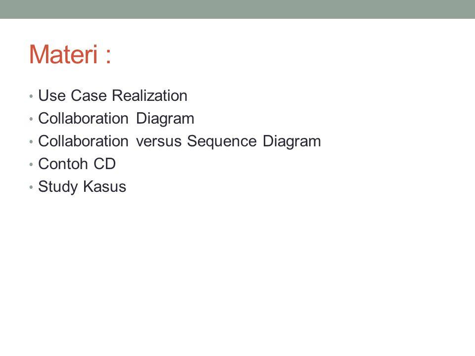 Materi : Use Case Realization Collaboration Diagram