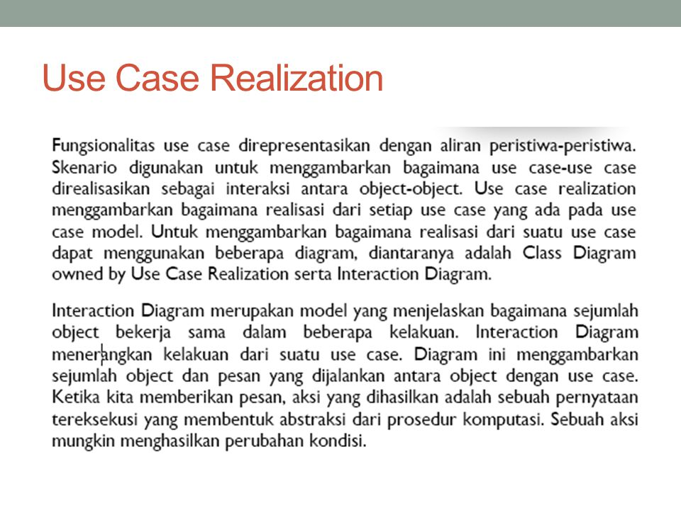 Use Case Realization