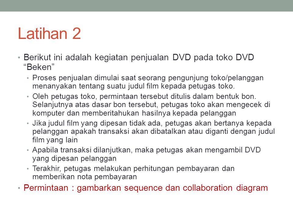 Latihan 2 Berikut ini adalah kegiatan penjualan DVD pada toko DVD Beken