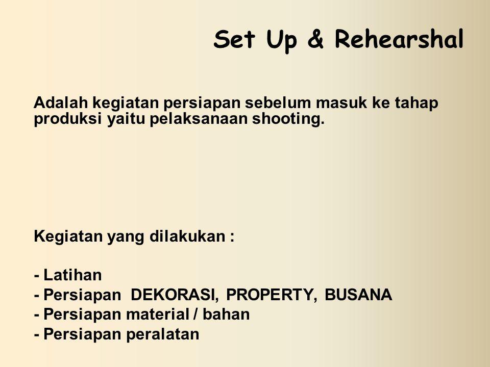 Set Up & Rehearshal Adalah kegiatan persiapan sebelum masuk ke tahap produksi yaitu pelaksanaan shooting.