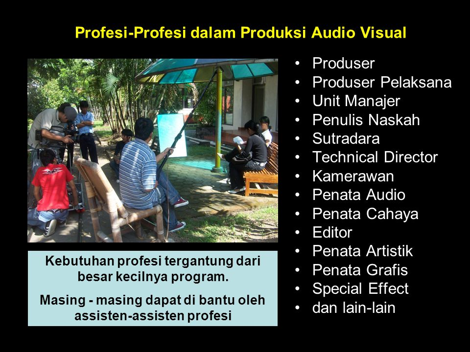 Profesi-Profesi dalam Produksi Audio Visual