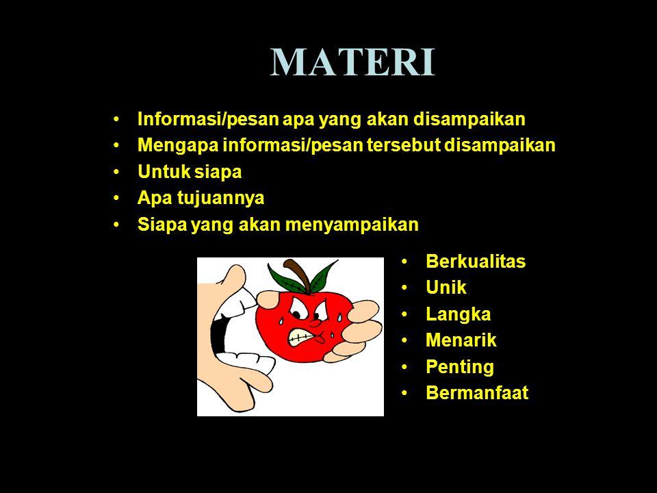 MATERI Informasi/pesan apa yang akan disampaikan