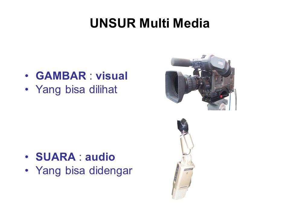 UNSUR Multi Media GAMBAR : visual Yang bisa dilihat SUARA : audio