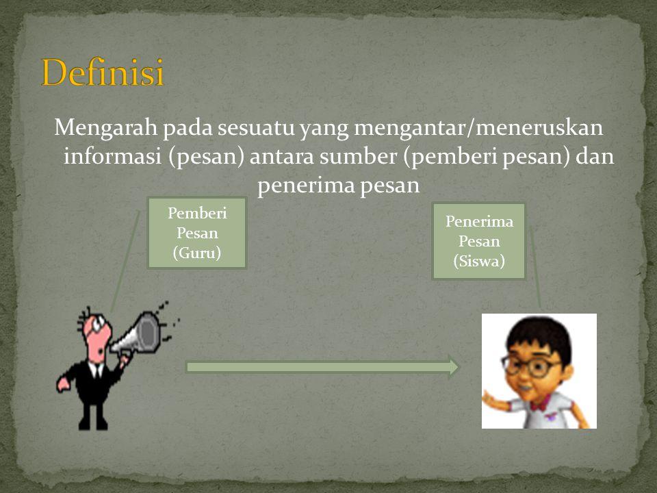 Definisi Mengarah pada sesuatu yang mengantar/meneruskan informasi (pesan) antara sumber (pemberi pesan) dan penerima pesan.