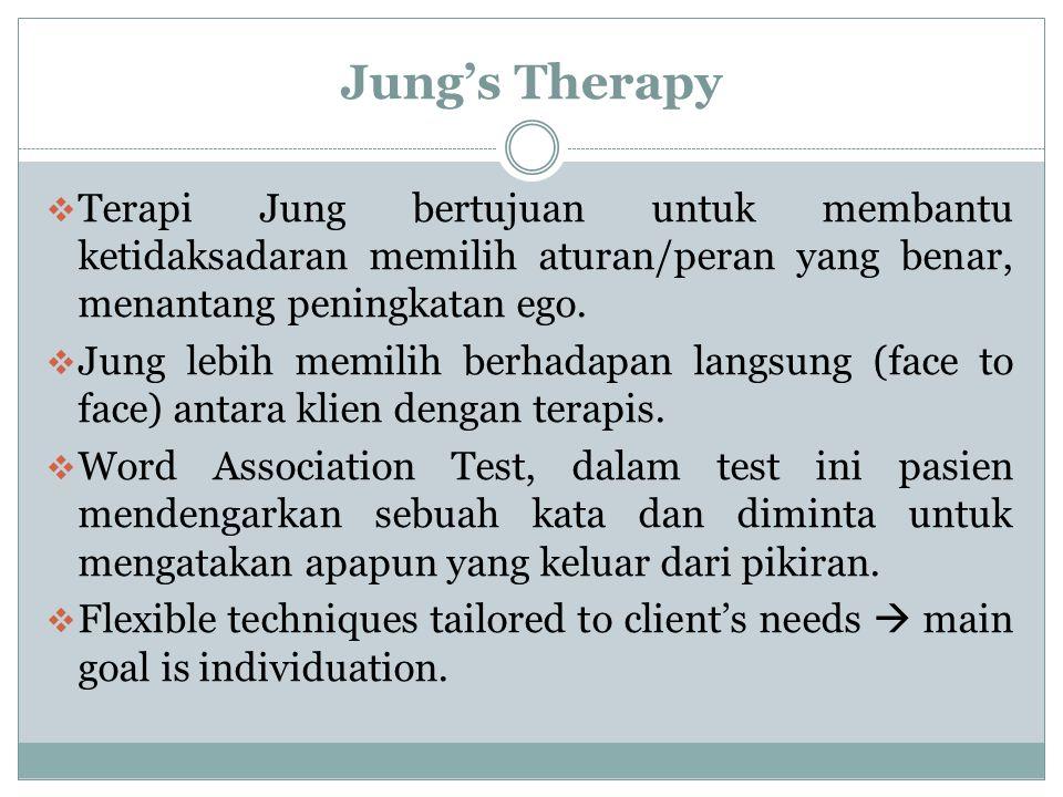 Jung's Therapy Terapi Jung bertujuan untuk membantu ketidaksadaran memilih aturan/peran yang benar, menantang peningkatan ego.