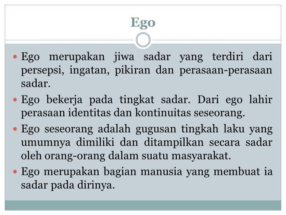 Ego Ego merupakan jiwa sadar yang terdiri dari persepsi, ingatan, pikiran dan perasaan-perasaan sadar.