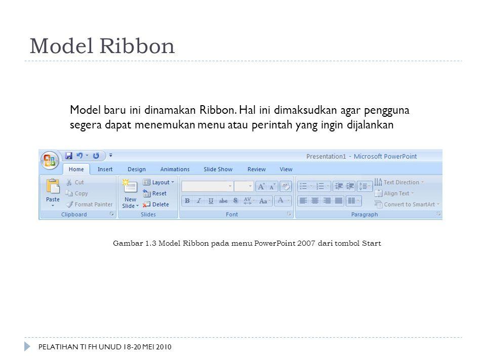 Model Ribbon Model baru ini dinamakan Ribbon. Hal ini dimaksudkan agar pengguna segera dapat menemukan menu atau perintah yang ingin dijalankan.