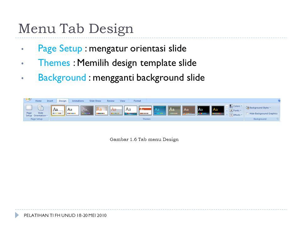 Menu Tab Design Page Setup : mengatur orientasi slide