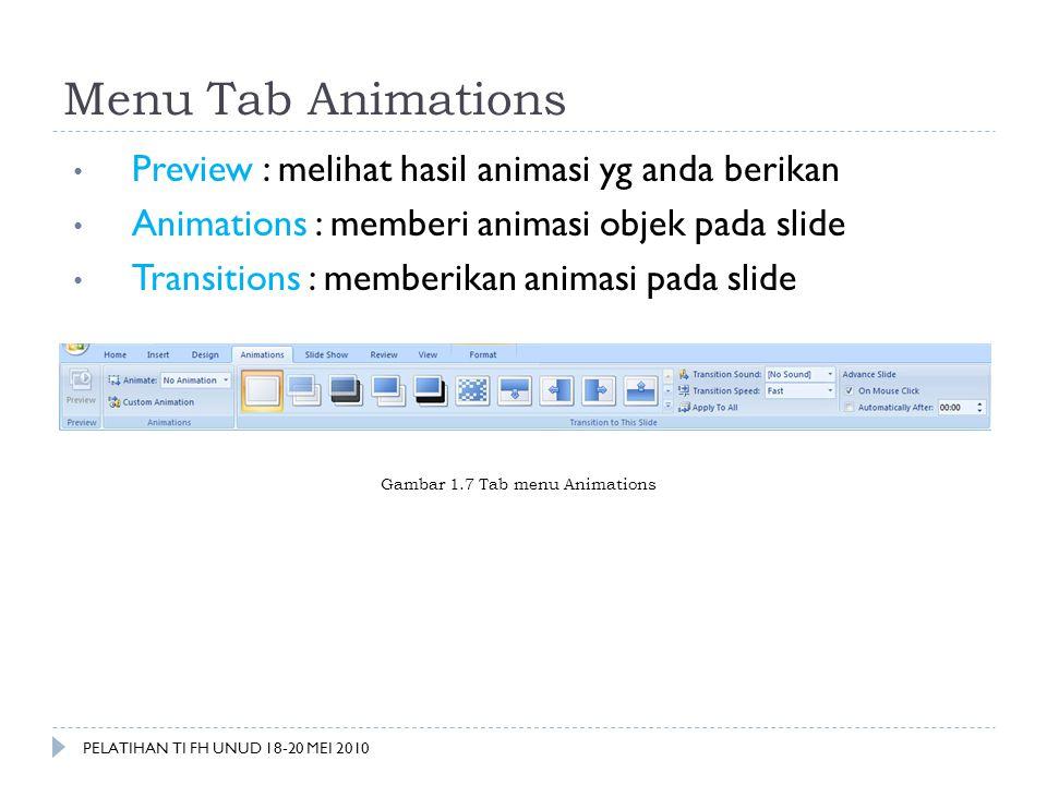 Menu Tab Animations Preview : melihat hasil animasi yg anda berikan