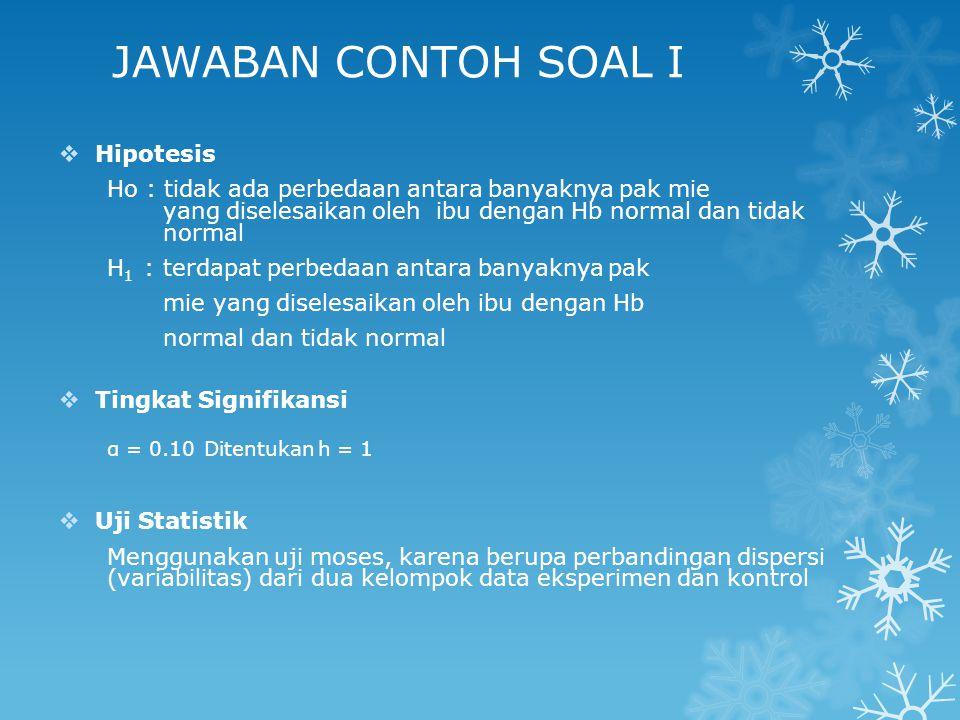 JAWABAN CONTOH SOAL I Hipotesis