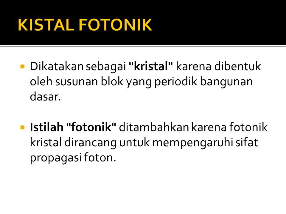 KISTAL FOTONIK Dikatakan sebagai kristal karena dibentuk oleh susunan blok yang periodik bangunan dasar.